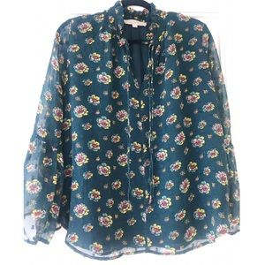 LOFT floral blouse with flare sleeves size small